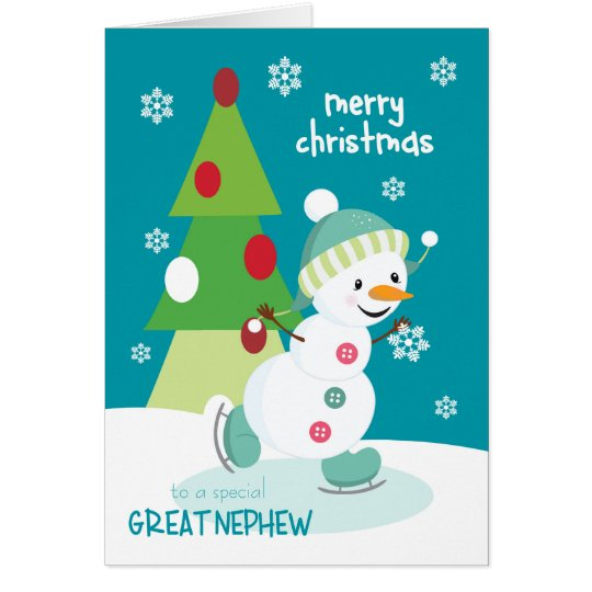 Christmas for Great Nephew Ice Skating Snowman Card