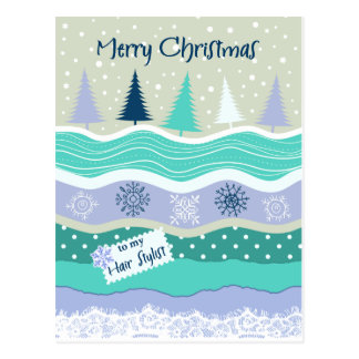 Christmas for Hair Stylist Snowflakes Scrapbooking Postcard