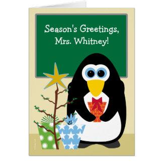 Christmas for Teacher Cute Penguin in Classroom Card