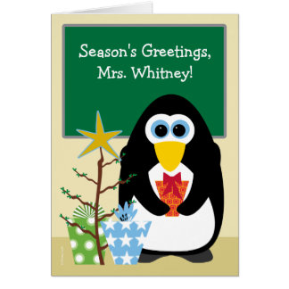 Christmas for Teacher Cute Penguin in Classroom Greeting Card