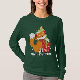 Christmas Fox and tree add message womens t-shirt
