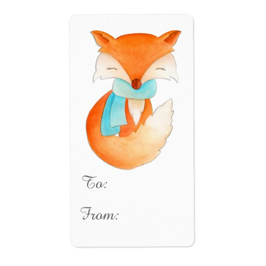 Christmas fox cub gift tag (to and from)