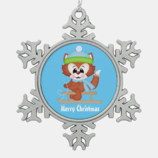 Christmas fox Holiday pewter snowflake ornament