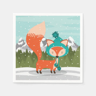 Christmas Fox In A Teal Hat Disposable Napkins