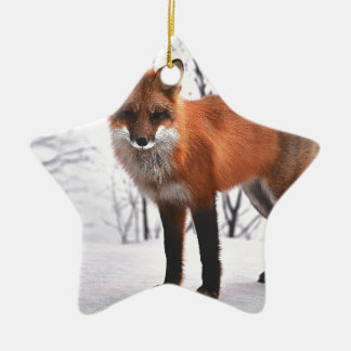 Christmas Fox in Snow Ceramic Star Decoration