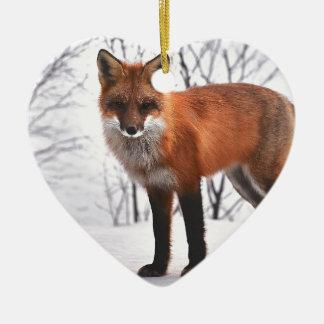 Christmas Fox in Snow Christmas Ornament