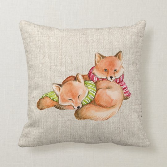 christmas foxes linen look pillow cushion