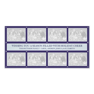 Christmas Frame Collage Blue Photo Card Template