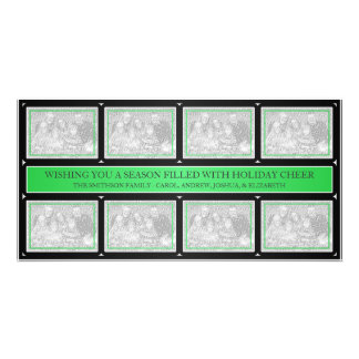 Christmas Frame Collage Green Black Picture Card
