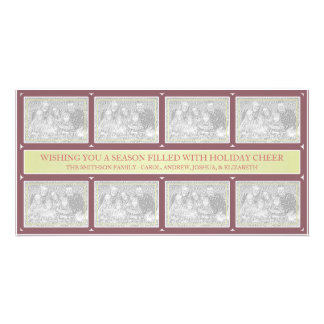 Christmas Frame Collage Green Burgundy Photo Cards