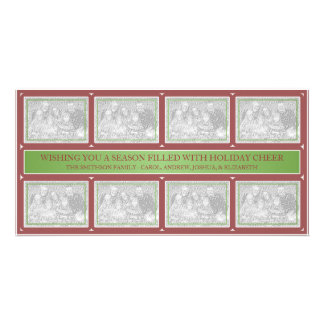 Christmas Frame Collage Green Red Photo Greeting Card