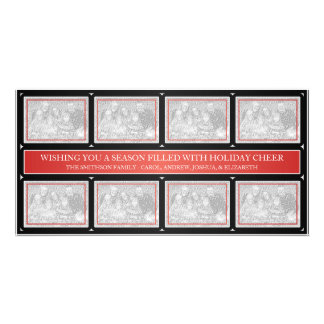 Christmas Frame Collage Red Black Photo Card Template