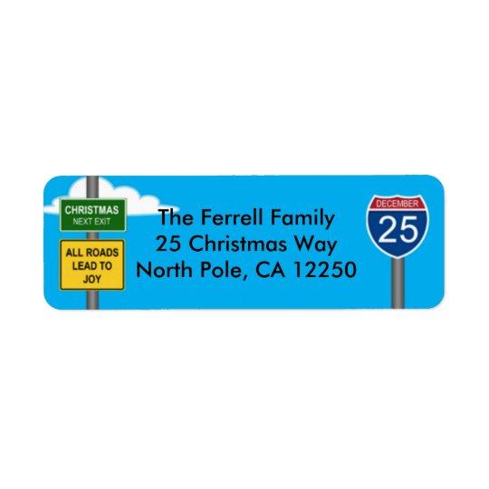 Christmas Freeway Road Signs Return Address Label