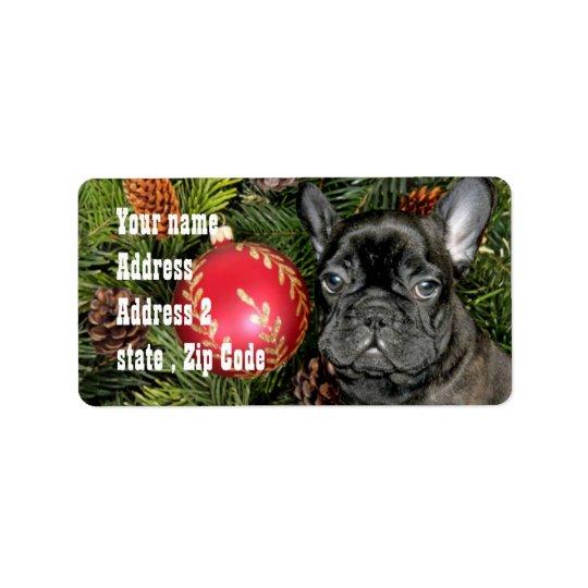 Christmas French Bulldog Address Label