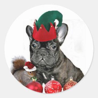 Christmas French Bulldog Classic Round Sticker