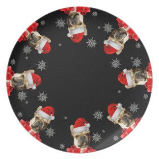 Christmas French Bulldog dinner plate