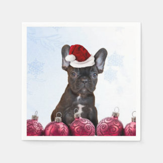 Christmas French Bulldog Disposable Serviettes