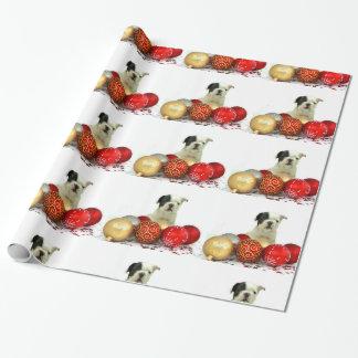 Christmas French Bulldog dog wrapping paper