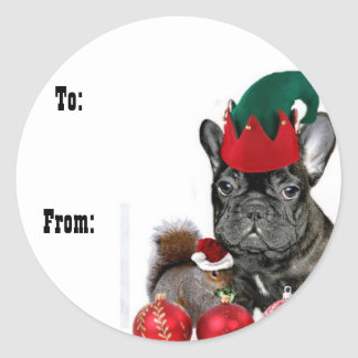 Christmas French Bulldog gift tag stickers