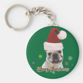 Christmas french bulldog keychain