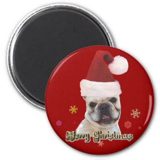 Christmas french bulldog magnet