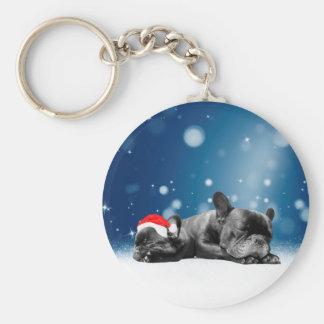 Christmas French Bulldog Puppies snow santa hat Basic Round Button Key Ring