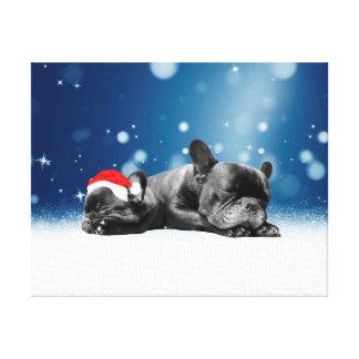 Christmas French Bulldog Puppies snow santa hat Gallery Wrap Canvas