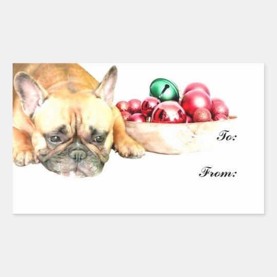 Christmas French Bulldog Rectangular Sticker