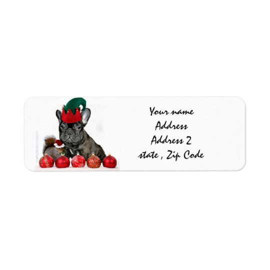 Christmas French Bulldog Return Address Label