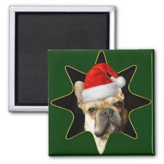 Christmas French Bulldog square magnet