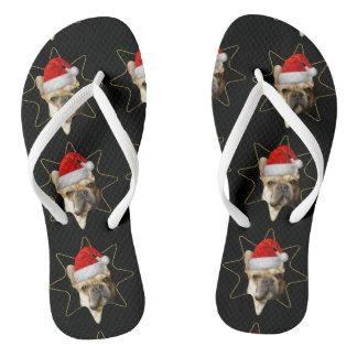 Christmas French Bulldogs flip flops