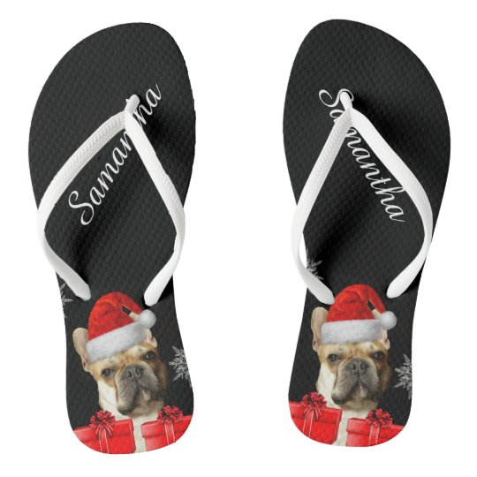 e6430597e04c Christmas French Bulldogs personalised flip flops