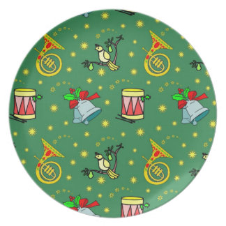 Christmas – French Horns & Magenta Drums Party Plates
