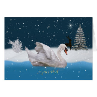 Christmas, French Language, Snowy Night with Swan Greeting Card