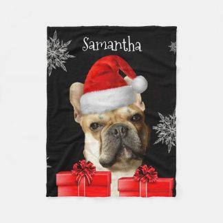 Christmas Frenchie personalized dog fleece blanket