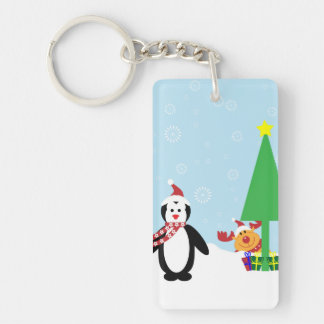 Christmas Friends: Penguins & Reindeer in the Snow Single-Sided Rectangular Acrylic Keychain
