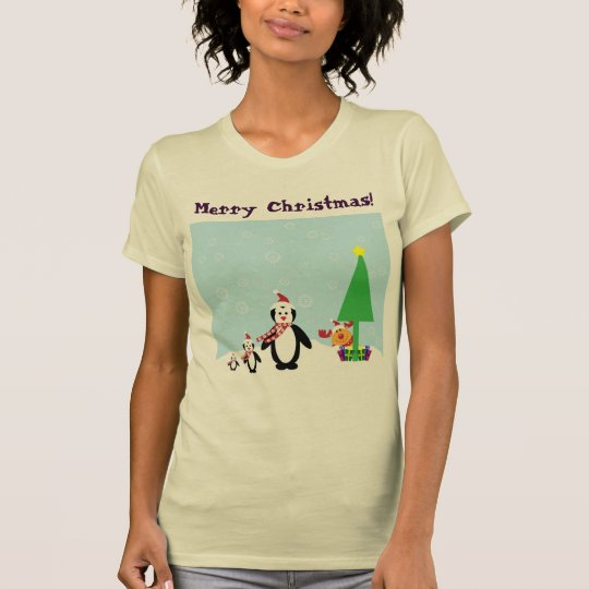 Christmas Friends: Penguins & Reindeer in the Snow T-Shirt