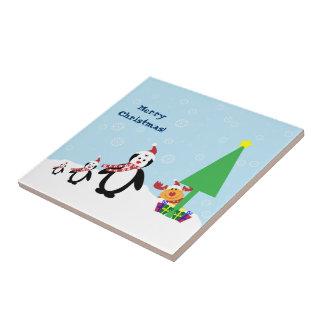 Christmas Friends Penguins Reindeer in the Snow Tile