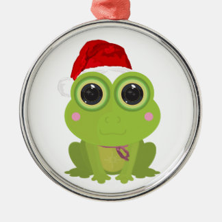 Christmas Frog Silver-Colored Round Decoration