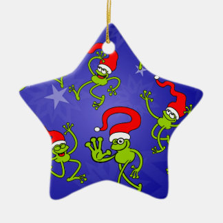 Christmas Frogs jumping, dancing and celebrating! Christmas Ornament