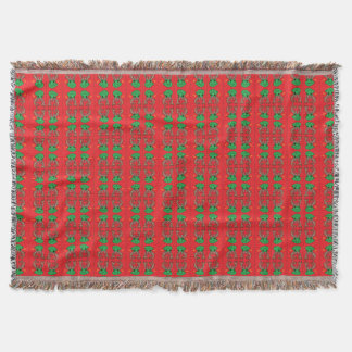 Christmas frogs with antlers and stars throw blanket