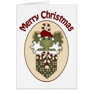 Christmas Frogs with Cookies and Candy Canes Greeting Card