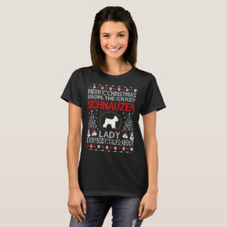 Christmas From Schnauzer Dog Lady Ugly Sweater Tee