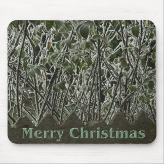 Christmas Frosted Leaves Mouse Pad