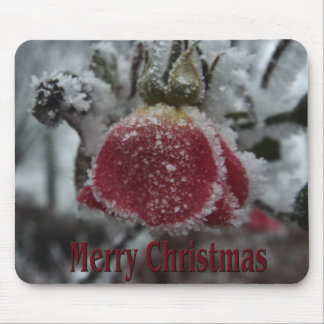 Christmas Frosted Red Rose Mouse Pad