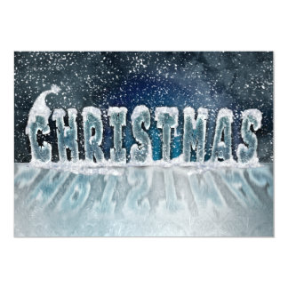 Christmas frosted text reflection invitations