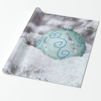 Christmas frozen ornament wrapping paper
