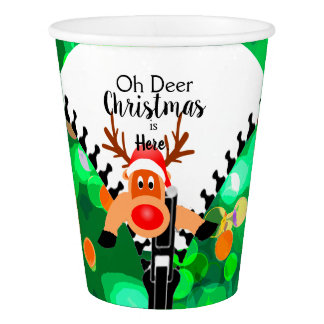 Christmas fun with a Deer green themed Paper Cup