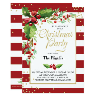 Christmas Function Invitation - Red Stripes