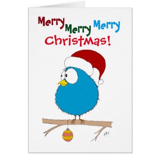 Christmas: Funny Bird (blue) Card